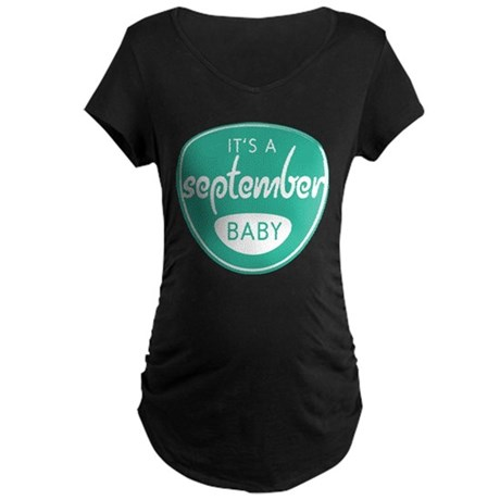 Seafoam It's a September Baby Maternity Dark T-Shi