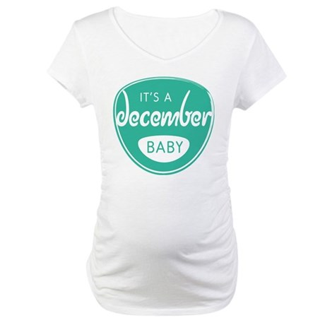 Seafoam It's a December Baby Maternity T-Shirt