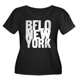 BFLO NEW YORK Women's Plus Size Scoop Neck Dark T-