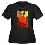 Orange Abstract Women's Plus Size V-Neck Dark T-Sh