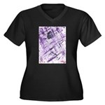 Purple Antagonism Women's Plus Size V-Neck Dark T-