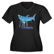 Mako Shark Women's Plus Size V-Neck Dark T-Shirt