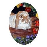 Mini Lop Rabbit Art Oval Ornament