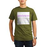 Magenta Jesus Loves Me Organic Men's T-Shirt (dark