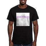 Magenta Jesus Loves Me Men's Fitted T-Shirt (dark)
