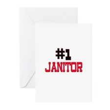 Number 1 JANITOR Greeting Cards (Pk of 10)