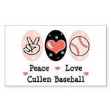 Peace Love Cullen Baseball Rectangle Decal
