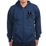 Boston Terrier Crossbones Zipped Hoodie