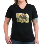 Cute Camel Women's V-Neck Dark T-Shirt