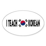 I Teach Korean Oval Sticker (10 pk)