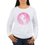 Retro Pink Unicorn Women's Long Sleeve T-Shirt
