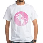Retro Pink Unicorn White T-Shirt