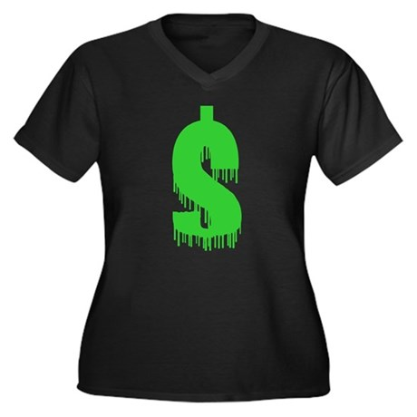 Recession Sucks Womens Plus Size V-Neck Dark T-Sh