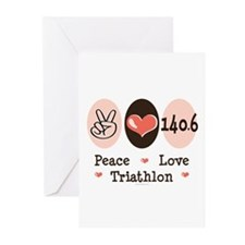 Peace Love Triathlon 140.6 Greeting Cards (Pk of 2