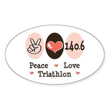 Peace Love Triathlon 140.6 Oval Sticker (50 pk)
