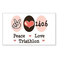 Peace Love Triathlon 140.6 Rectangle Sticker 10 p