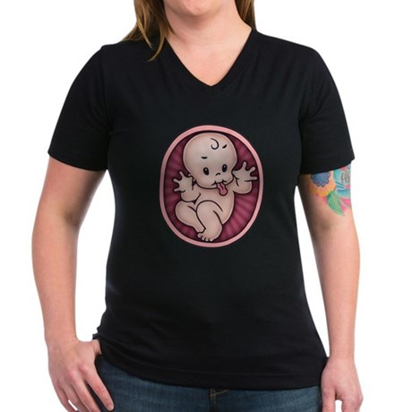 Razz Baby Women's V-Neck Dark T-Shirt