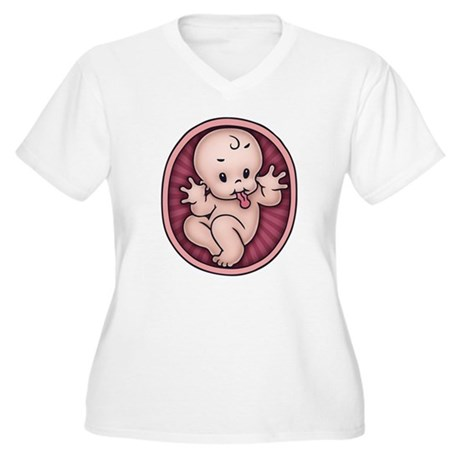 Razz Baby Women's Plus Size V-Neck T-Shirt