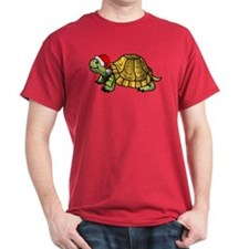 Christmas Turtle Black T-Shirt