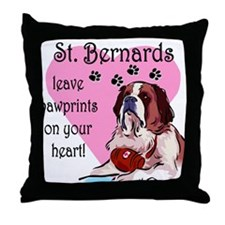 St. Bermard Pawprints Throw Pillow