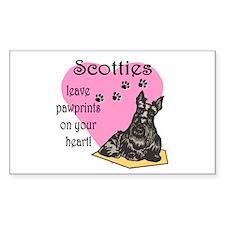 Scottie Pawprints Rectangle Decal