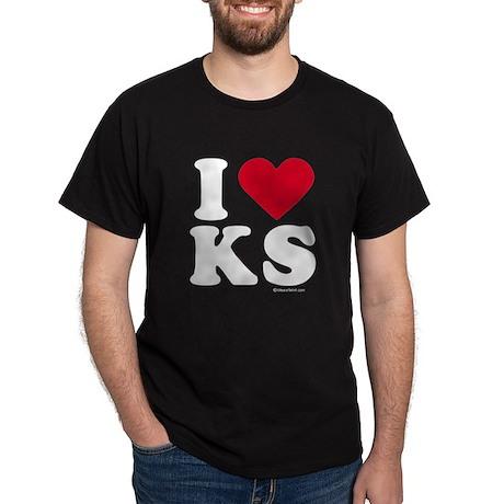 I Love Kansas (KS) - Black T-Shirt