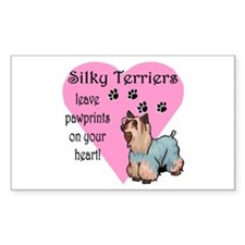 Silky Terrier Pawprints Rectangle Decal