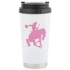 Pink Bronc Cowboy Ceramic Travel Mug