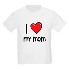 I Love Mom Cartoon Heart T-Shirt