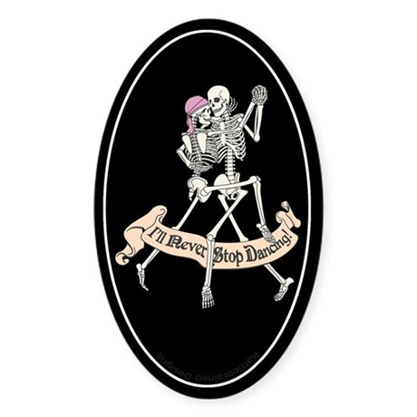 Dancing Skeletons Oval Sticker