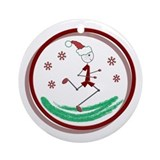 Holiday Runner Guy Ornament (Round)
