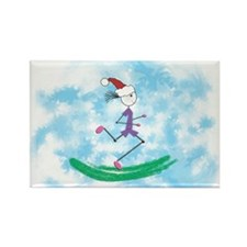 Christmas Holiday Lady Runner Rectangle Magnet-10