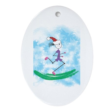 Christmas Holiday Lady Runner Oval Ornament