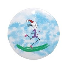 Christmas Holiday Lady Runner Ornament (Round)