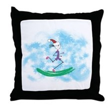 Christmas Holiday Lady Runner Throw Pillow