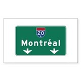 Montreal, Canada Hwy Sign Rectangle Sticker 50 pk