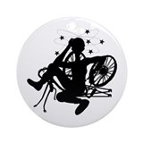 Cyclist Crash Ornament (Round)