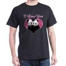 I love You Panda Bears Black T-Shirt