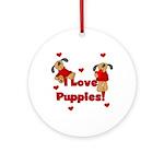I Love Puppies Ornament (Round)