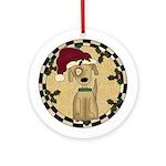 Stocking Cap Dog Ornament (Round)