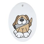 Puppy with Newspaper Oval Ornament