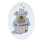 Puppy's Bathtime Oval Ornament