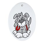 Time for a Walk Dog Oval Ornament
