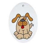 Happy Dog Oval Ornament