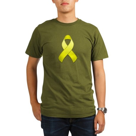 Yellow Awareness Ribbon Organic Men's T-Shirt (dar