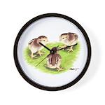Silver Grey Dorking Chicks Wall Clock