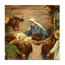 Vintage Christmas Nativity Tile Coaster