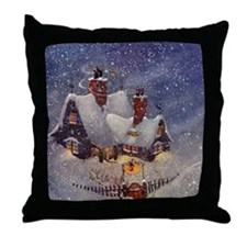 Vintage Christmas North Pole Throw Pillow