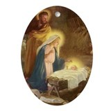 Nativity Scene Oval Ornament