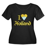I Love Holland Women's Plus Size Scoop Neck Dark T